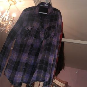 Tie dye plaid button up shirt from Pacsun